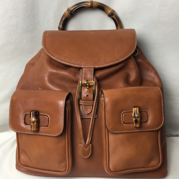 Gucci Handbags - VINTAGE GUCCI bamboo backpack in camel leather ba3451ac79489